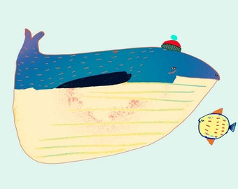Whale and Fish. children's wall art - room decor - art prints - nursery decor - illustration - wall decor - whale print - digital prints.