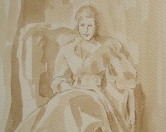 "Figure Painting, wash, ink drawing study of the ""Lady Agnew of Lochnaw "" by John Singer Sargent. 9x11 inches."