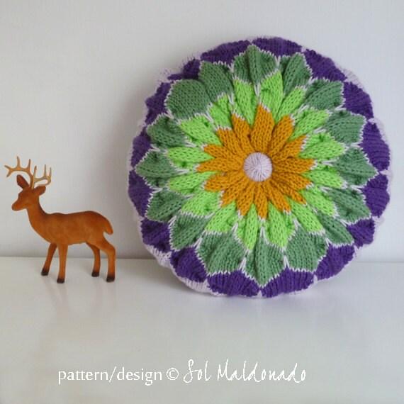 Knitting Pattern For Round Cushion : Items similar to knit pillow pattern PDF Pinwheel - round cushion PHOTO tutor...