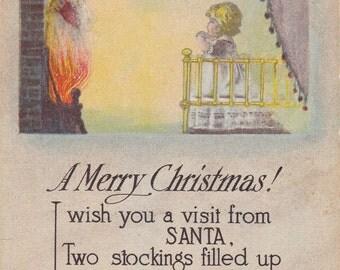 I Wish You a Visit From Santa- 1920s Antique Postcard- Merry Christmas- Fireplace Fire- Creepy Santa Claus- Holiday Decor- Paper Ephemera