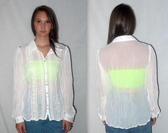 Breathe .. vintage 80s 90s sheer blouse / 1980s white button up / 1990s crinkle crochet / boho minimalist / long sleeve .. S M