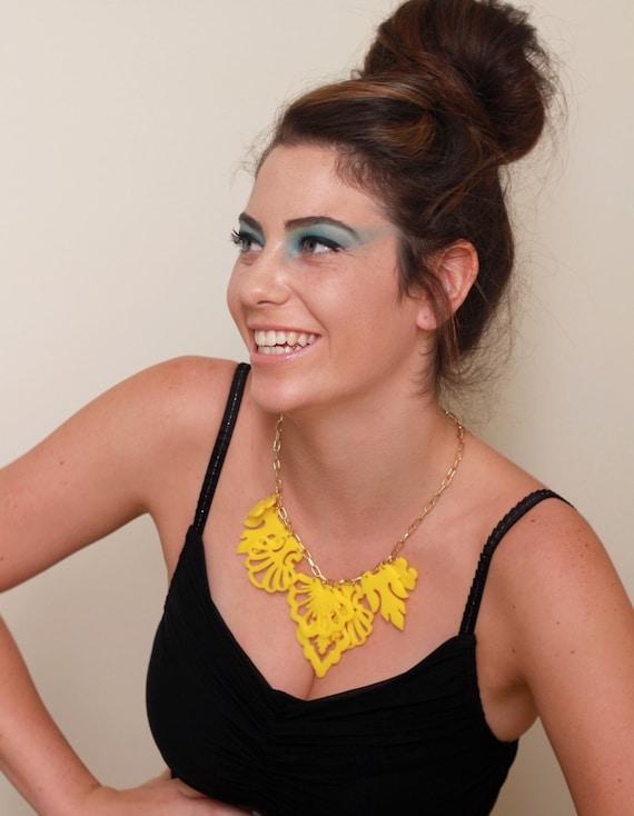 Statement Yellow Necklace - Elegant Jewelry - Bridesmaids Necklace - Bridesmaids Jewelry - Prom Jewelry - Cocktail Jewelry - Party Jewelry