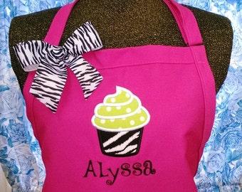 Personalized Apron Cupcake Applique Zebra Hot Pink