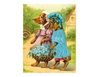 Dressed DACHSHUND Girls Walking w Blue Flowers Art Antique Vintage Doxies Weiner Sausage Dog ART Print MAGNET