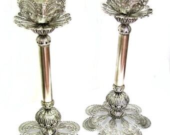 Candlesticks, Exclusive Candle Holder, Artisan, 925 Sterling Silver, Yemenite Filigree, Wedding Gift, Judaica - Free Express Shipping ID1737