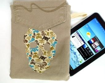 Ahoy Matey, Tan Denim Kindle, Nook Bag with Skull Appliqué on Front, Jeans Pocket on Back, with Brown, Teal, Tan Skulls Inside
