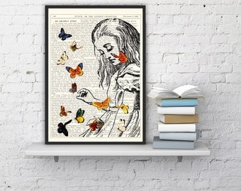 Summer Sale Decorative art_ Alice in Wonderland Playing with butterflies, Wall hanging Alice art print on Vintage Dictionary Book ALW044