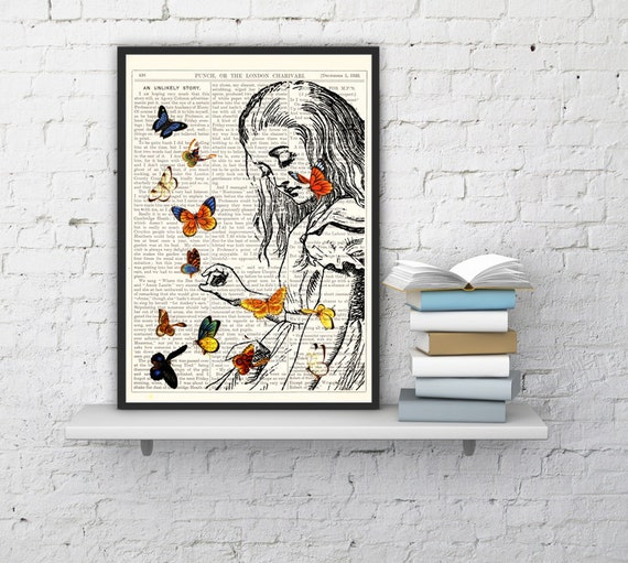 Alice in Wonderland Playing with butterflies print on Vintage Dictionary Book art ,book print,  BPAW044b