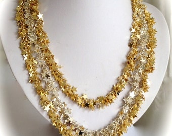 Starry Night Two Tone Silver and Gold Star Necklace Multi Strand Chain Necklace Silver and Gold Necklace Tiered Necklace