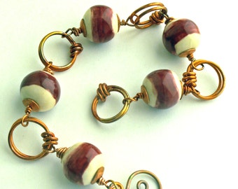 Bracelet, Copper Wired OKAWA Beads