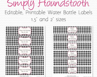 Houndstooth Water Bottle Labels, Black and White, Hot Pink, Birthday Decor or Shower Decoration, Party Favor -- Printable, Editable, Instant