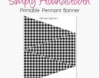 Houndstooth Pennant Banner, Birthday Party Decoration, Bridal Shower Decor, Bunting, Graduation Party Supplies - Printable, Instant Download