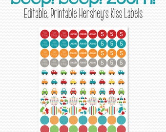 Car Party Favors, Transportation Theme, Chocolate Candy Labels, Circle Stickers, Boy Birthday Party, Baby Shower -- Editable, Printable