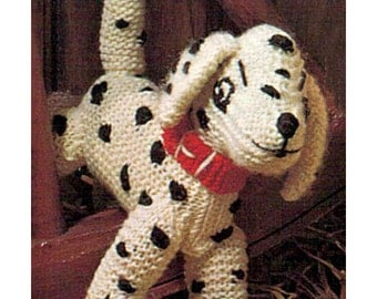 Instant Download PDF Easy Knitting Pattern to make a Floppy Dalmation Spotty Puppy Dog Soft Stuffed Baby Toy 9 inches Tall
