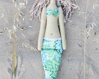 Sweet Mermaid doll handmade fabric doll sea green softie plush,cloth doll art doll rag doll blonde Mermaid - gift for girl and mom