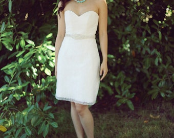 Sample Sale: Short Lace Wedding dress, Pencil skirt, Simple Reception Dress, Modern City Wedding Dress, Simple Wedding Gown, Strapless Dress