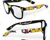 Pokemon glasses - Custom Wayfarer clear lens geeky glasses unique hand painted - Pokemon glasses - Pikachu - Pokéball - Fast Ball