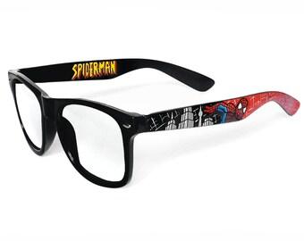 Spiderman custom glasses gift for him men women red black unique customized boyfriend gift Prescription Wayfarer comic geek nerd superhero