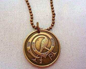 Irish Jewelry. Ireland necklace. Tiny CELTIC COIN NECKLACE. bird necklace. Irish harp. eire. celtic jewellery. Irish coin. Celtic knot charm