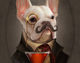 Mortecai the French Bulldog Art Gentleman Victorian Steampunk Original Illustration Painted Bar Portrait Poster Print 4 Sizes