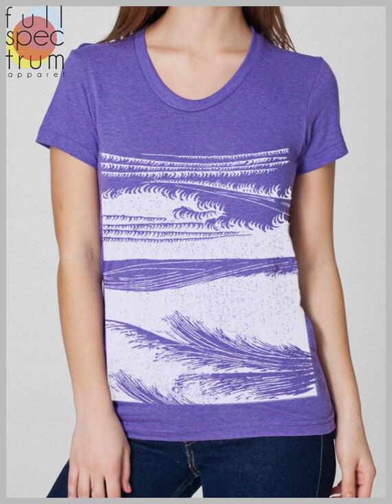 Women's Block Print  T Shirt Waves American Apparel S, M, L, XL 8 COLORS Beach Wear
