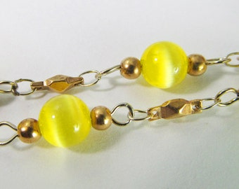 3 Ft Vintage Yellow Glass Cats Eye Bead Chain Ch199