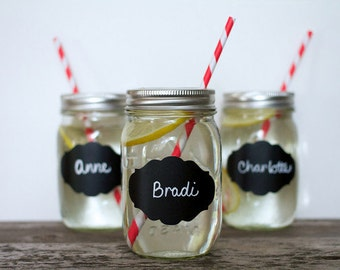 24 Fancy Chalkboard Wedding Mason Jar Labels BILLIE 2 x 3 Label Storage Kitchen Organization Canisters Canning Gift Tag Labels Party Favors