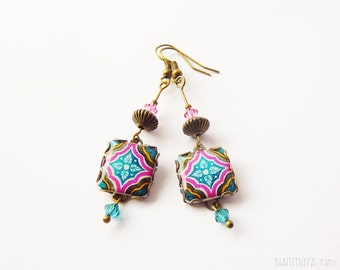 Floral tile Earrings with vintage style prints. Fuchsia, white and turquoise. Herbal earrings. Arabesque