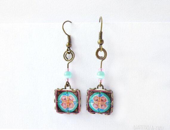 French tiles Earrings with vintage drawings Pink, white, grey and blue floral and  medieval drawings