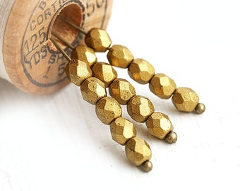 4mm Golden Fire polished czech glass beads, Matte Metallic Aztec Gold faceted round spacers - 50Pc - 1632