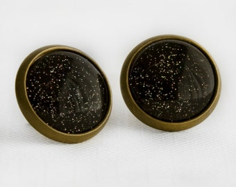 Charcoal Sparkle Post Earrings in Antique Bronze - Black with Silver and Multicolor Glitter Dangle Earrings
