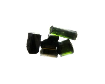 Green Tourmaline 5 Raw Crystals 20% off SALE - 9mm - 14mm x 5mm - 10mm / 24 Carats Natural Rough Stones (Lot 5177)