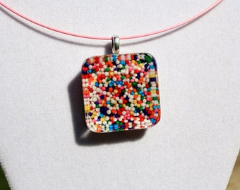 Candy Sprinkles Resin Pendant, Sprinkle Jewelry, Candy Jewelry