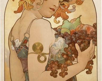 ART NOUVEAU Print Named FRUIT by Alphonse Mucha 1897