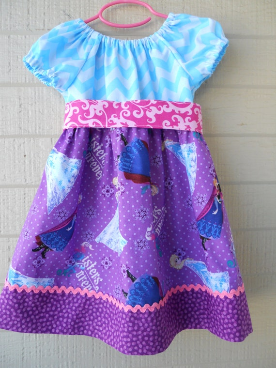 LAST ONE: Size 5T Frozen Peasant Dress with Sash, Ready to Ship, Peasant Dress, Frozen Dress
