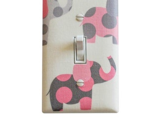 Pink Elephant Switchplate / Pink and Gray Nursery Decor / Light Switchplate Cover / Baby Girl Room White Grey / Slightly Smitten Kitten