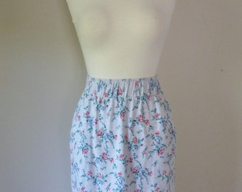 90's Floral Skirt Soft Grunge Stretch Cotton Rose High Waisted Tshirt Bodycon Pocket Back Slit S M