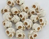 Vintage White Howlite Skull Beads, Set of 8