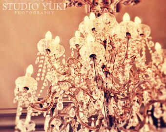Chandelier Photograph, Glamorous, Romantic, Pastel, Powder, Renaissance, Sparkling, Shiny, Shabby Chic, Baroque - Glam Goddess