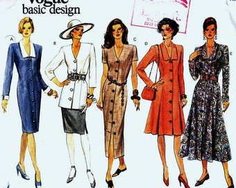 Vogue 1191 Dress button thru panels with length and sleeve variations Size 18-20-22 Vogue's Basic Design (uncut) sewing pattern