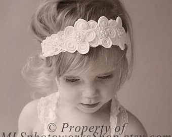 Vintage Scalloped Lace Flower Headband - Pure White Baby Girl Headband in Vintage Style - White Wedding Headband for Babies, Toddlers, Girls