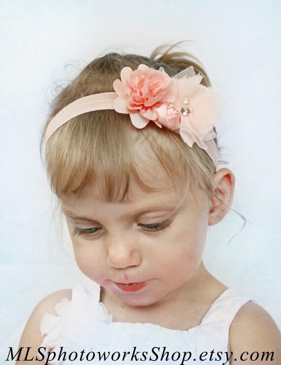 soft p che headband fleur b b fille cheveux couleur p che. Black Bedroom Furniture Sets. Home Design Ideas