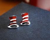 Cat In The Hat Studs -- Earrings, Dr. Seuss Cat In the Hat, Red and Black, Dr. Seuss Earrings, Silver