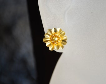 Gold Flower Earrings -- Studs, Gold Metal