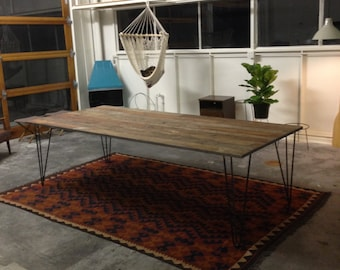 Reclaimed Wood Hairpin Leg Table 3' x 6'