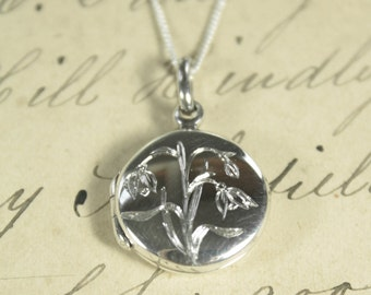 Language of Flowers - Snowdrop - Hope - Engraved Sterling Silver Locket