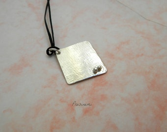 Geometric minimal silver plated bronze pendant, one of a kind necklace