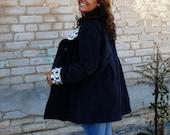 Womens Empire Waist Swing Coat in Corduroy with Optional Hood