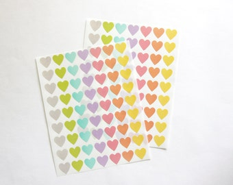 Heart Stickers, Pastel/Colorful/Multicolor Heart Stickers, Small Heart Sticker, Size 16mm, Set of 2 sheets or 126 hearts