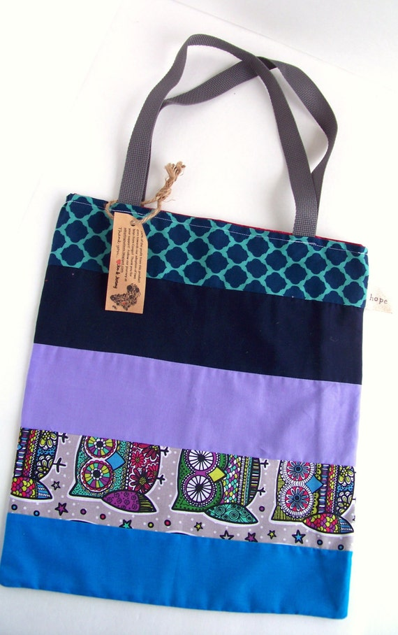 Owls Tote Bag Halloween Purple Navy Blue Groceries Candy Congo Adoption Fundraiser